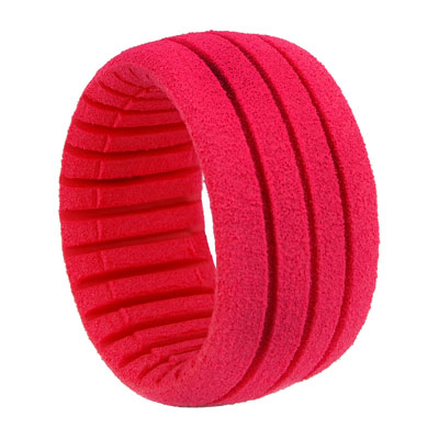 1:8 TRUGGY SHAPED INSERT GROOVED RED (SOFT) (4PCS)