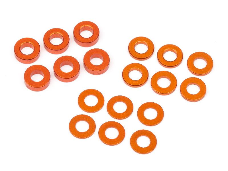 HB112797 RACING WASHER SET 3X6MM (0.5MM/1.0MM/2.0MM/ORANGE/6PCS)