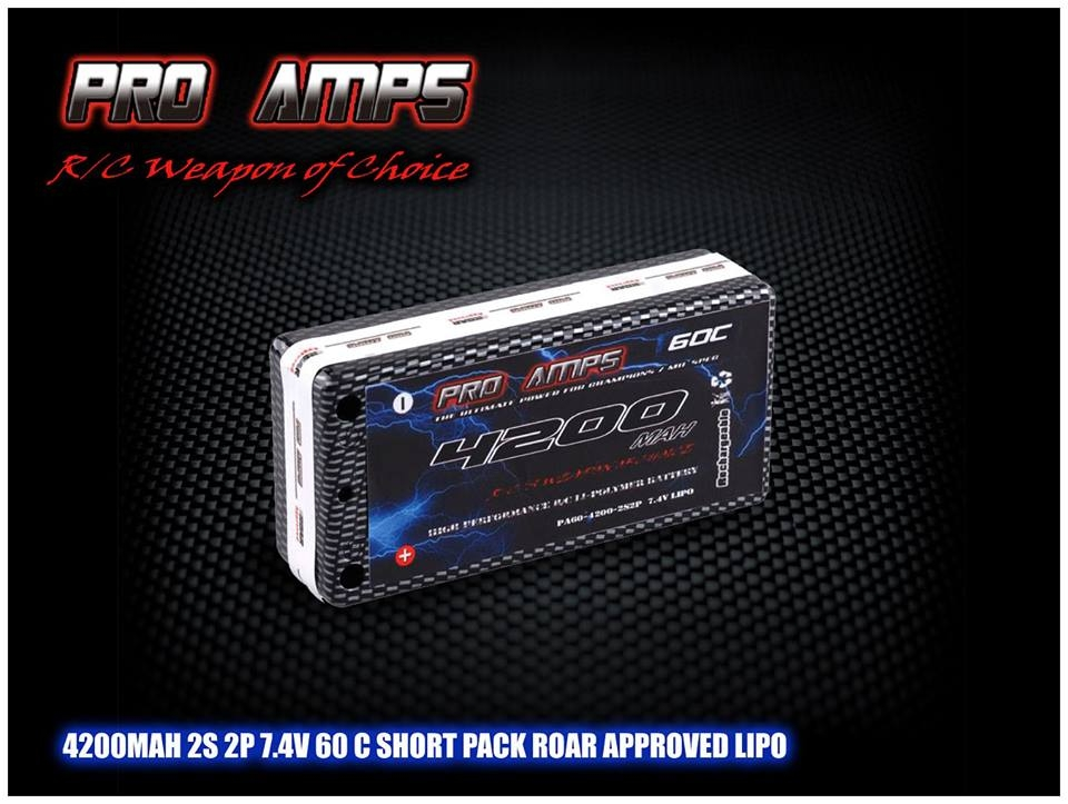 Pro Amps 4200MAH-2S-2P-7.4V-75C-SHORT-PACK Hi Voltage