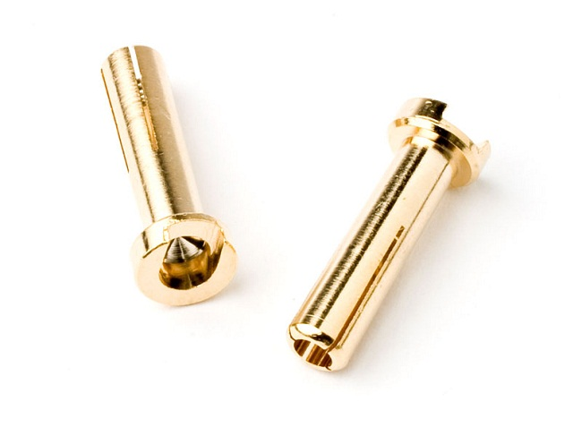 TQR2501 4mm Male Bullets Low Profile (pr.) Gold 18mm