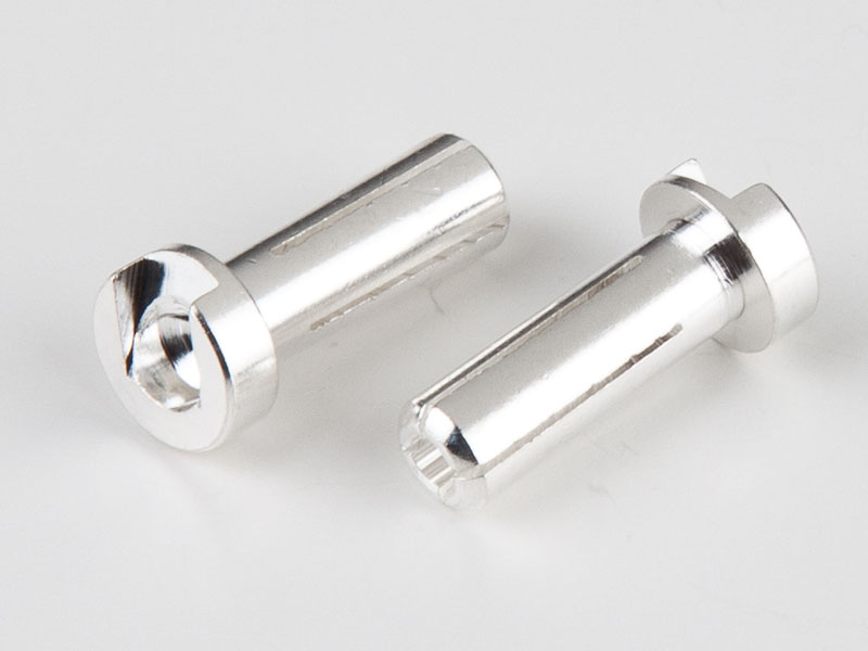 TQR2504 4mm Male Bullets Low Profile (pr.) Silver 14mm