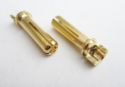 TQR2506 4mm Male Bullets Narrow-top (pr.) Gold 18mm