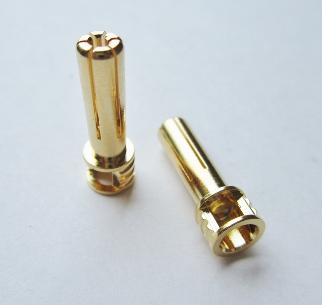 TQR2508 5mm Male Bullets Window Top (pr.) Gold 21mm