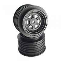 DE Racing Gambler Rear Wheels for Late Model / MWM / Street Stock / 12mm Hex / AE -TLR / BLACK