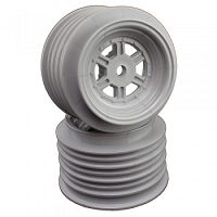 DE Racing Gambler Rear Wheels for Late Model / MWM / Street Stock / 12mm Hex / AE -TLR / SILVER